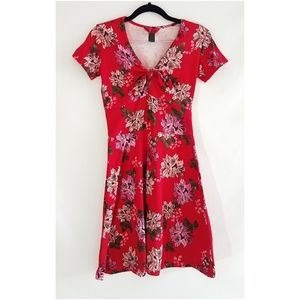 Hot Kiss Floral Short Sleeve Cocktail Red Dress